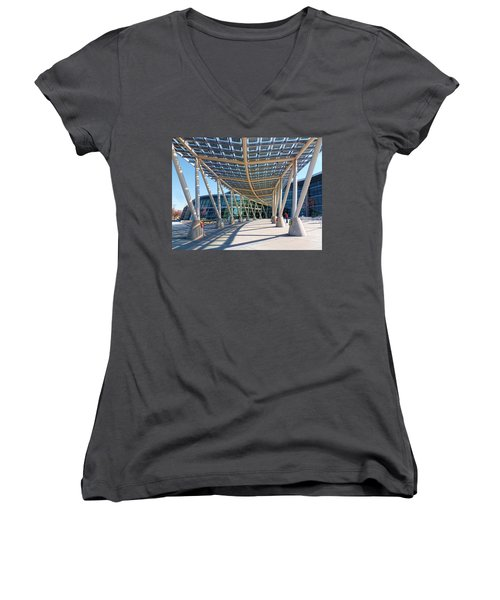 Women's V-Neck T-Shirt (Junior Cut) featuring the photograph Salt Lake City Police Station - 2 by Ely Arsha