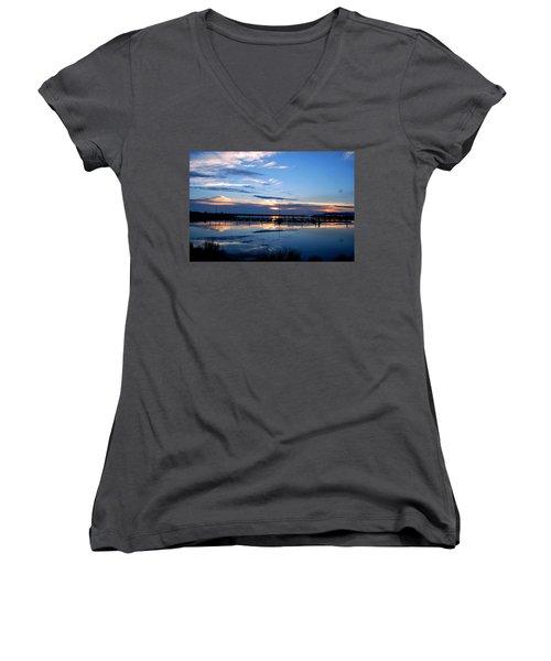 Salt Lake Marina Sunset Women's V-Neck T-Shirt (Junior Cut) by Matt Harang