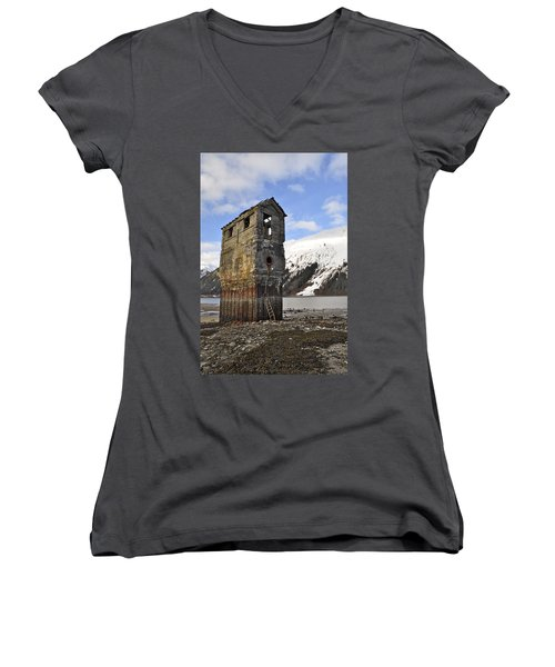 Saltwater Pump House Women's V-Neck T-Shirt (Junior Cut) by Cathy Mahnke