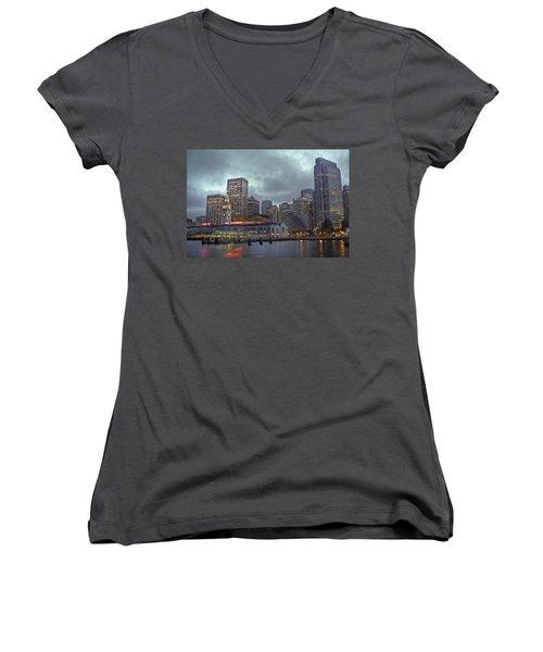 San Francisco Port All Lit Up Women's V-Neck T-Shirt