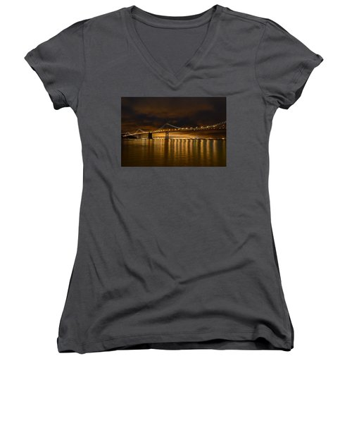 San Francisco - Bay Bridge At Night Women's V-Neck (Athletic Fit)
