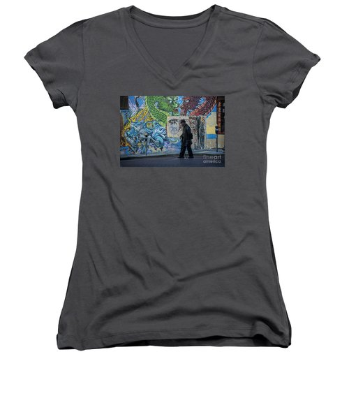 San Francisco Chinatown Street Art Women's V-Neck T-Shirt (Junior Cut) by Juli Scalzi