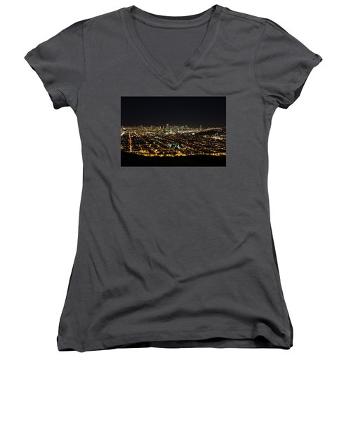 San Francisco Skyline Women's V-Neck T-Shirt (Junior Cut) by Dave Files