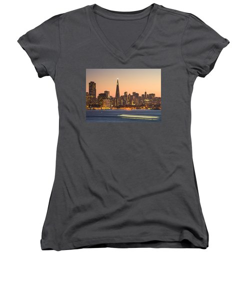San Francisco Skyline Late Evening Women's V-Neck T-Shirt