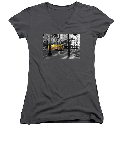 San Francisco Vintage Streetcar On Market Street - 5d19798 - Black And White And Yellow Women's V-Neck