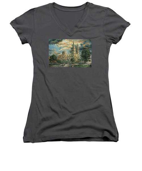 San Sebastian Church 1800s Women's V-Neck T-Shirt (Junior Cut) by Joey Agbayani