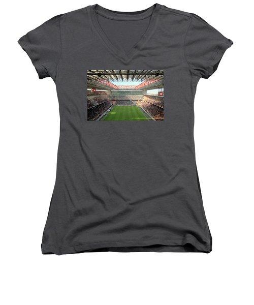 San Siro Stadium Women's V-Neck T-Shirt (Junior Cut) by Valentino Visentini