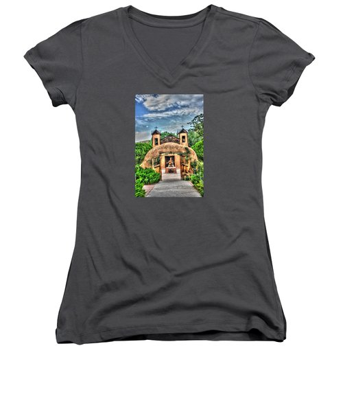 Santuario De Chimayo Women's V-Neck T-Shirt (Junior Cut) by Lanita Williams