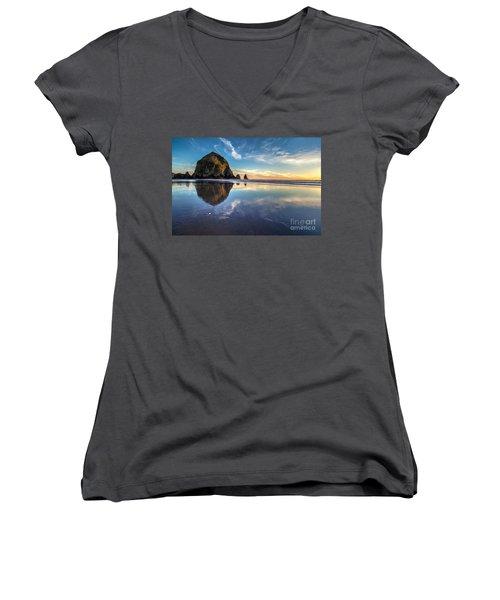 Sand Dollar Sunset Repose Women's V-Neck T-Shirt