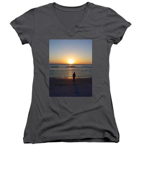 Women's V-Neck T-Shirt (Junior Cut) featuring the photograph Sand Key Sunset by David Nicholls