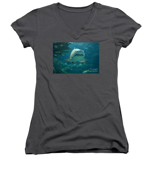 Women's V-Neck T-Shirt (Junior Cut) featuring the photograph Sand Shark by Robert Meanor