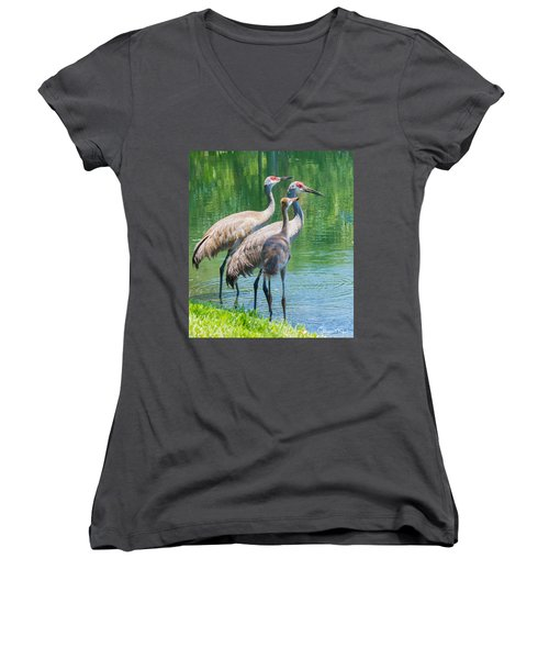 Mom Look What I Caught Women's V-Neck T-Shirt (Junior Cut) by Susan Molnar