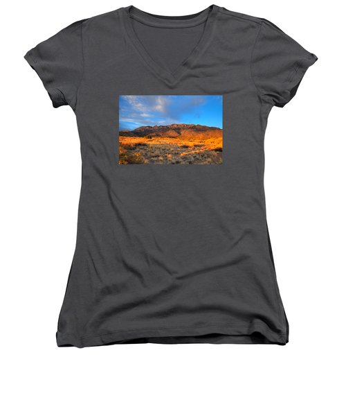 Sandia Crest Sunset Women's V-Neck T-Shirt (Junior Cut) by Alan Vance Ley