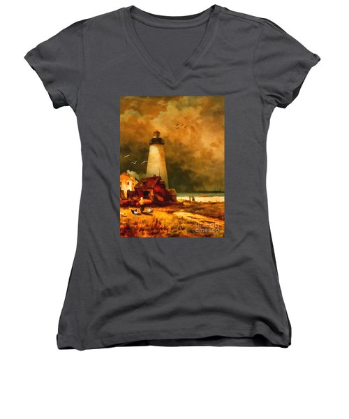 Sandy Hook Lighthouse - After Moran Women's V-Neck T-Shirt (Junior Cut) by Lianne Schneider