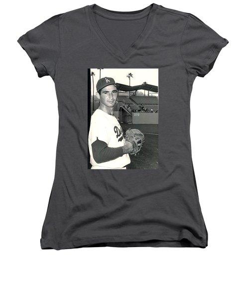 Sandy Koufax Photo Portrait Women's V-Neck (Athletic Fit)