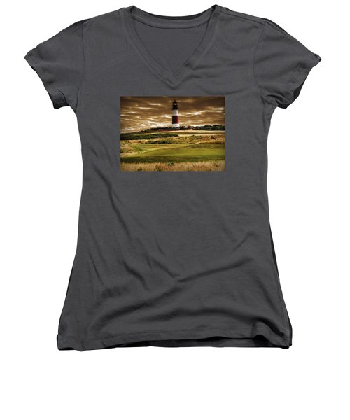 Women's V-Neck T-Shirt (Junior Cut) featuring the photograph Sankaty Head Lighthouse In Nantucket by Mitchell R Grosky