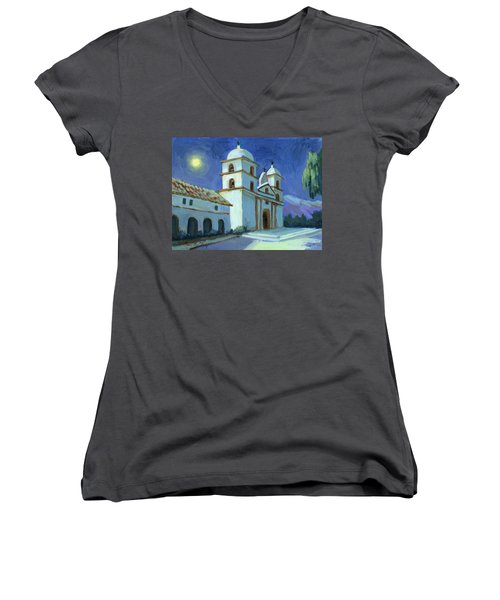 Santa Barbara Mission Moonlight Women's V-Neck