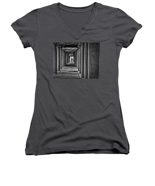 Women's V-Neck T-Shirt (Junior Cut) featuring the photograph Santa Fe New Mexico Walkway by Ron White