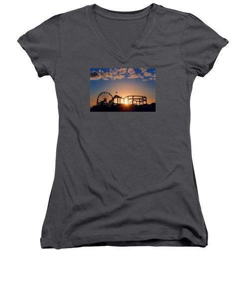 Santa Monica Pier Women's V-Neck T-Shirt (Junior Cut) by Art Block Collections