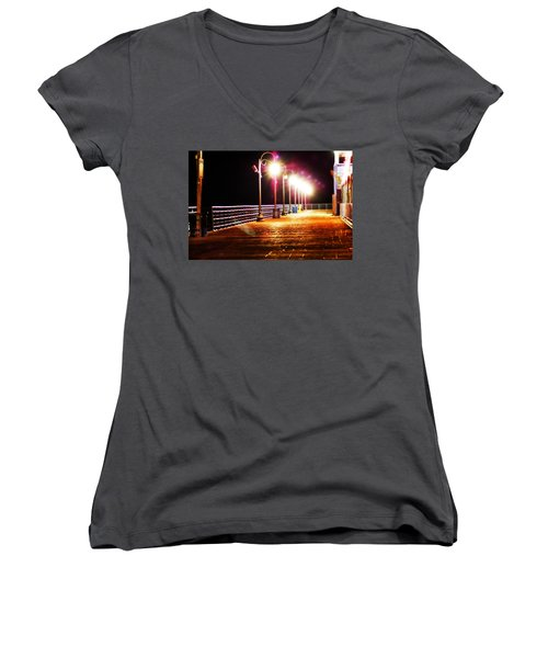 Santa Monica Pier At Night Women's V-Neck T-Shirt
