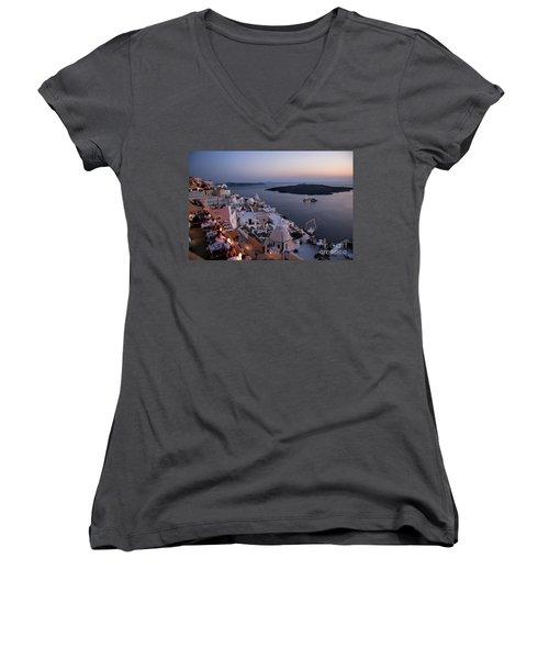 Santorini At Dusk Women's V-Neck T-Shirt