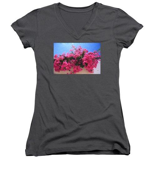 Santorini Flowers Grk1113 Women's V-Neck
