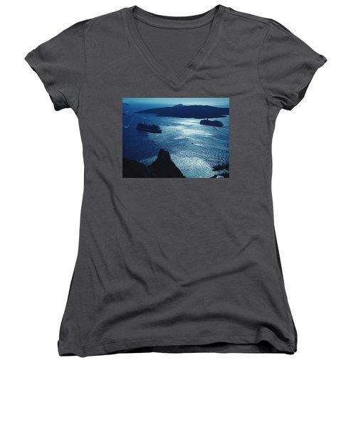Women's V-Neck T-Shirt (Junior Cut) featuring the photograph Santorini  Silent Night View Greece by Colette V Hera  Guggenheim