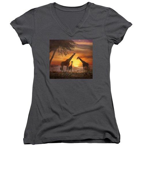 Savanna Sunset Women's V-Neck