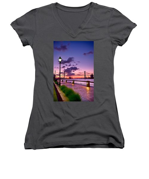 Savannah River Bridge Women's V-Neck T-Shirt (Junior Cut) by Renee Sullivan