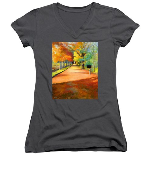 Sawmill Road Autumn Vermont Landscape Women's V-Neck T-Shirt
