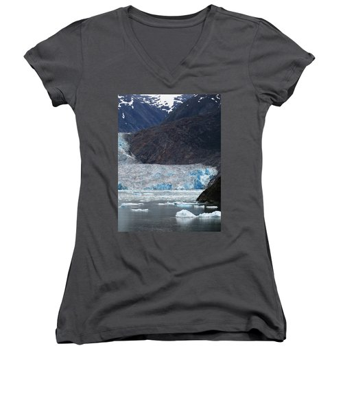 Women's V-Neck T-Shirt (Junior Cut) featuring the photograph Sawyer Glacier Blue Ice by Jennifer Wheatley Wolf