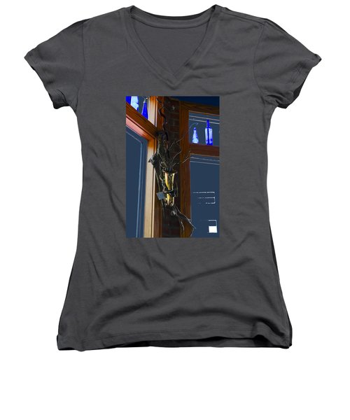 Women's V-Neck T-Shirt (Junior Cut) featuring the photograph Sax At The Full Moon Cafe by Greg Reed