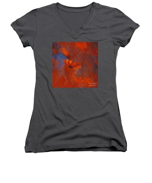 Scarlet Petals  Women's V-Neck T-Shirt (Junior Cut) by Paul Davenport