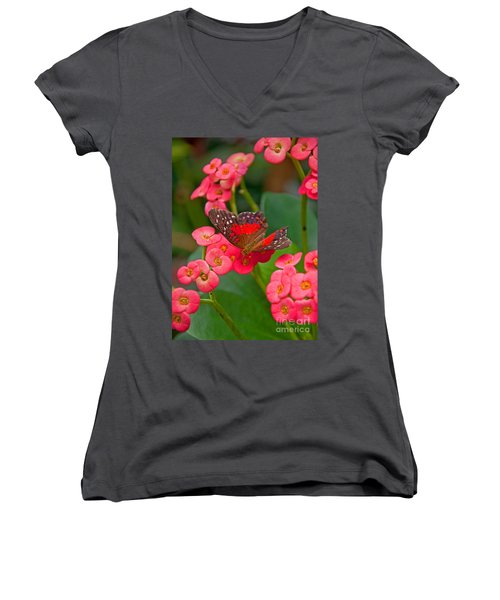 Scarlet Swallowtail Butterfly On Crown Of Thorns Flowers Women's V-Neck