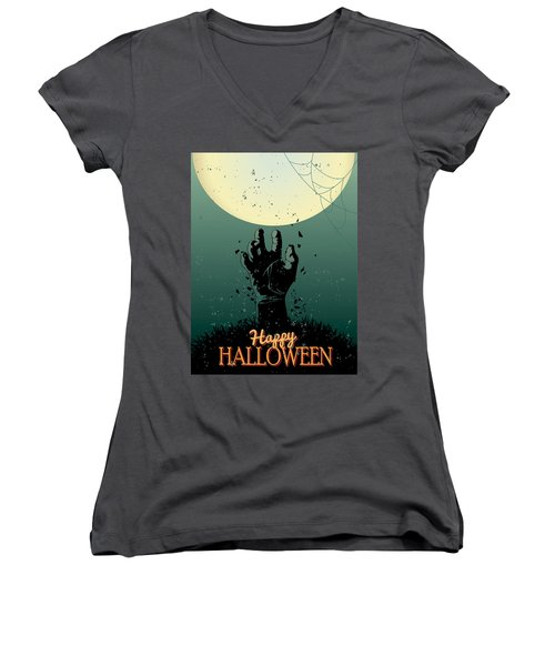 Women's V-Neck T-Shirt (Junior Cut) featuring the painting Scary Halloween by Gianfranco Weiss