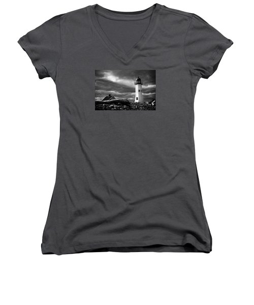 Scituate Lighthouse Under A Stormy Sky Women's V-Neck T-Shirt (Junior Cut) by Jeff Folger