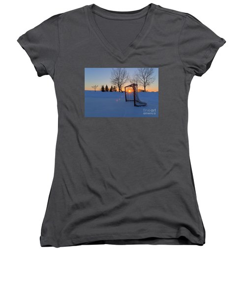 Scoring The Sunset Women's V-Neck T-Shirt (Junior Cut) by Darcy Michaelchuk