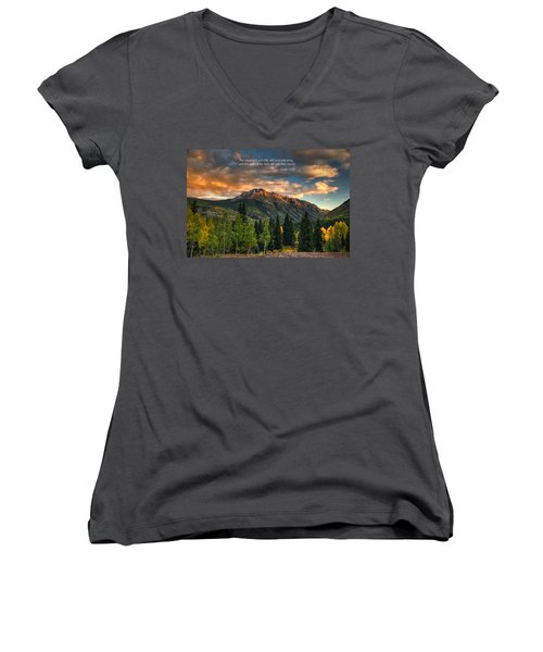 Scripture And Picture Isaiah 55 12 Women's V-Neck T-Shirt (Junior Cut) by Ken Smith