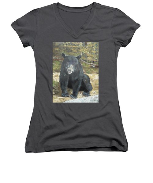 Women's V-Neck T-Shirt (Junior Cut) featuring the painting Scruffy Again by Jan Dappen