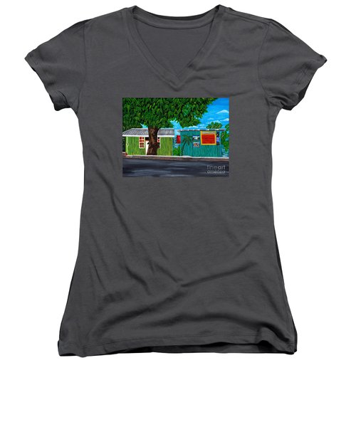 Women's V-Neck T-Shirt (Junior Cut) featuring the painting Sea-view Cafe by Laura Forde