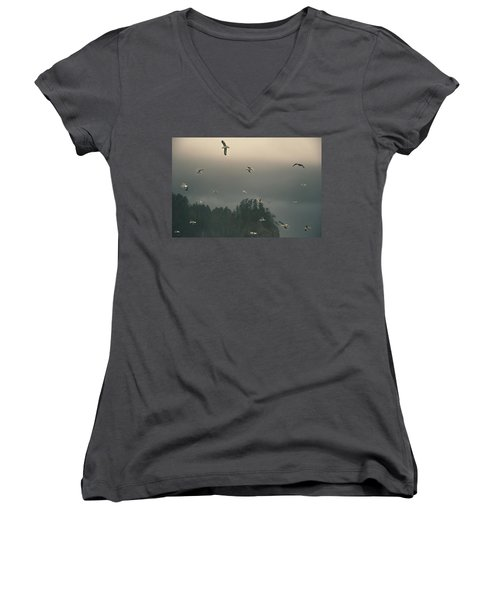 Seagulls In A Storm Women's V-Neck