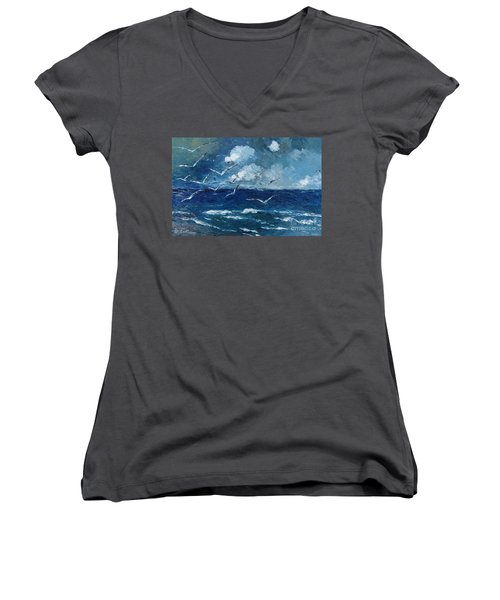 Seagulls Over Adriatic Sea Women's V-Neck T-Shirt (Junior Cut) by AmaS Art
