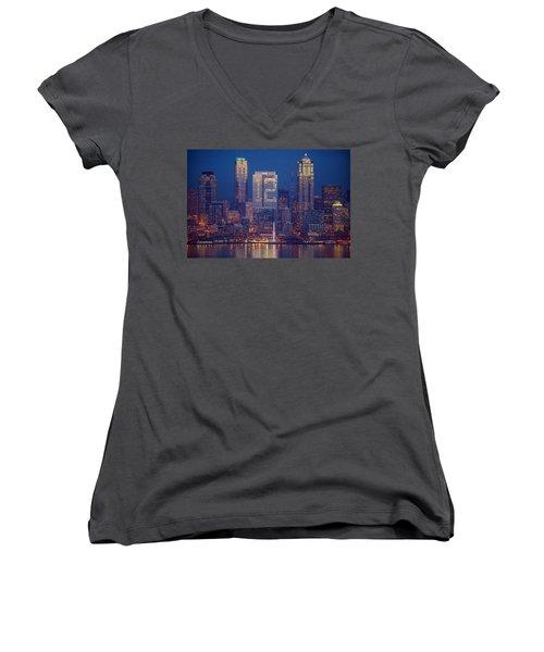 Seahawks 12th Man Seattle Skyline At Dusk Women's V-Neck T-Shirt (Junior Cut) by Mike Reid