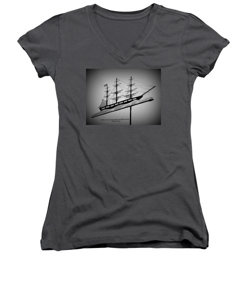 Women's V-Neck T-Shirt (Junior Cut) featuring the photograph Seaman's Bethel Weathervane  by Kathy Barney