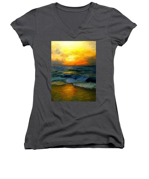 Seaside Sunset Women's V-Neck T-Shirt (Junior Cut) by Gail Kirtz