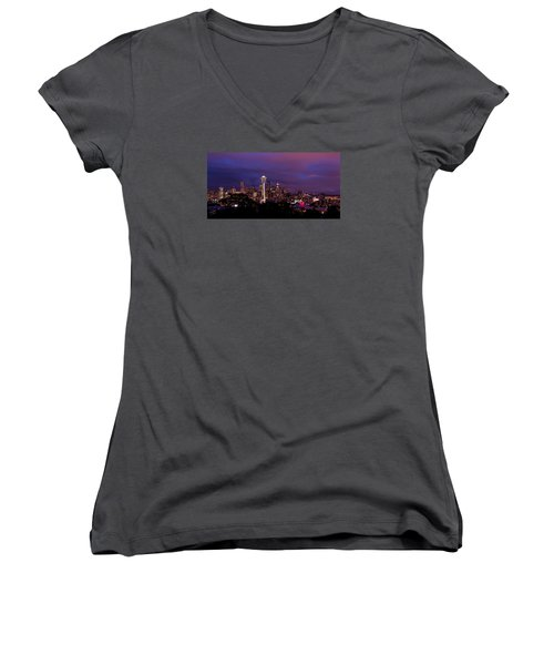 Seattle Night Women's V-Neck (Athletic Fit)