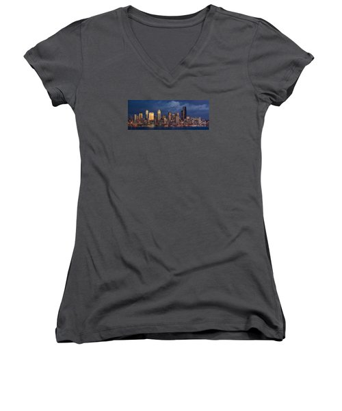 Seattle Skyline Sunset Detail Women's V-Neck T-Shirt (Junior Cut) by Mike Reid