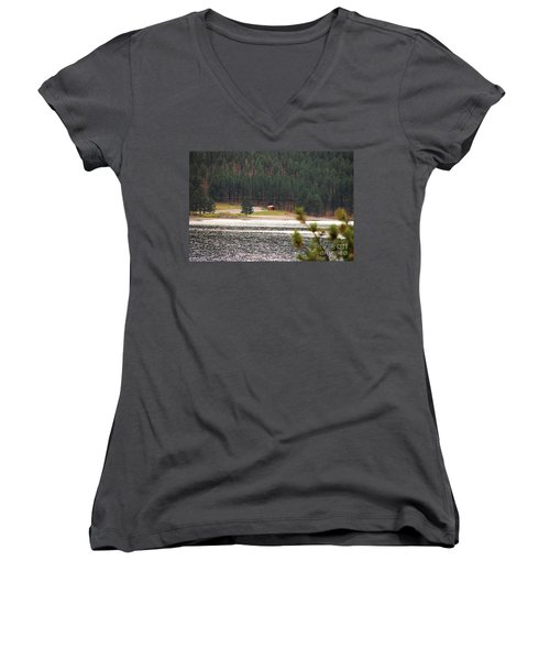 Women's V-Neck T-Shirt (Junior Cut) featuring the photograph Secluded Cabin by Mary Carol Story