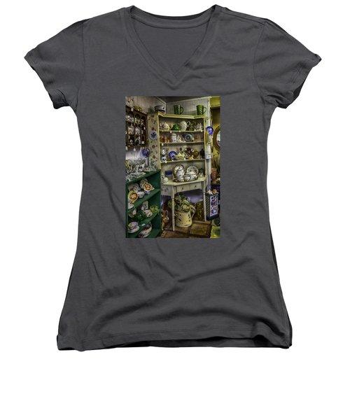 Second Hand Rose Women's V-Neck T-Shirt (Junior Cut) by Lynn Palmer