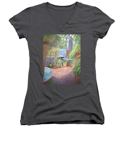 Women's V-Neck featuring the painting Secret Garden by Karen Zuk Rosenblatt